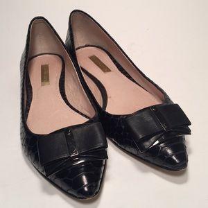 Louise et Cie Black Pointed Toe Flats w Bow Sz 6.5